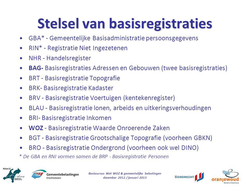 Basiscursus Wet WOZ & gemeentelijke belastingen december 2012 / januari 2013 Stelsel van basisregistraties GBA* - Gemeentelijke Basisadministratie per