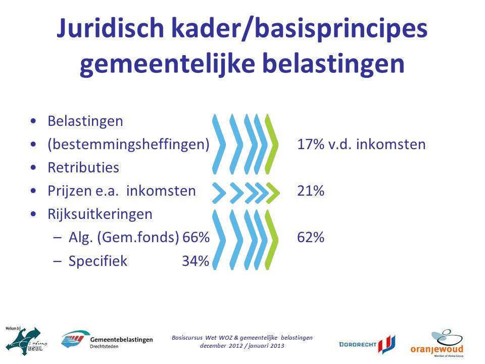Basiscursus Wet WOZ & gemeentelijke belastingen december 2012 / januari 2013 Juridisch kader/basisprincipes gemeentelijke belastingen Belastingen (bes