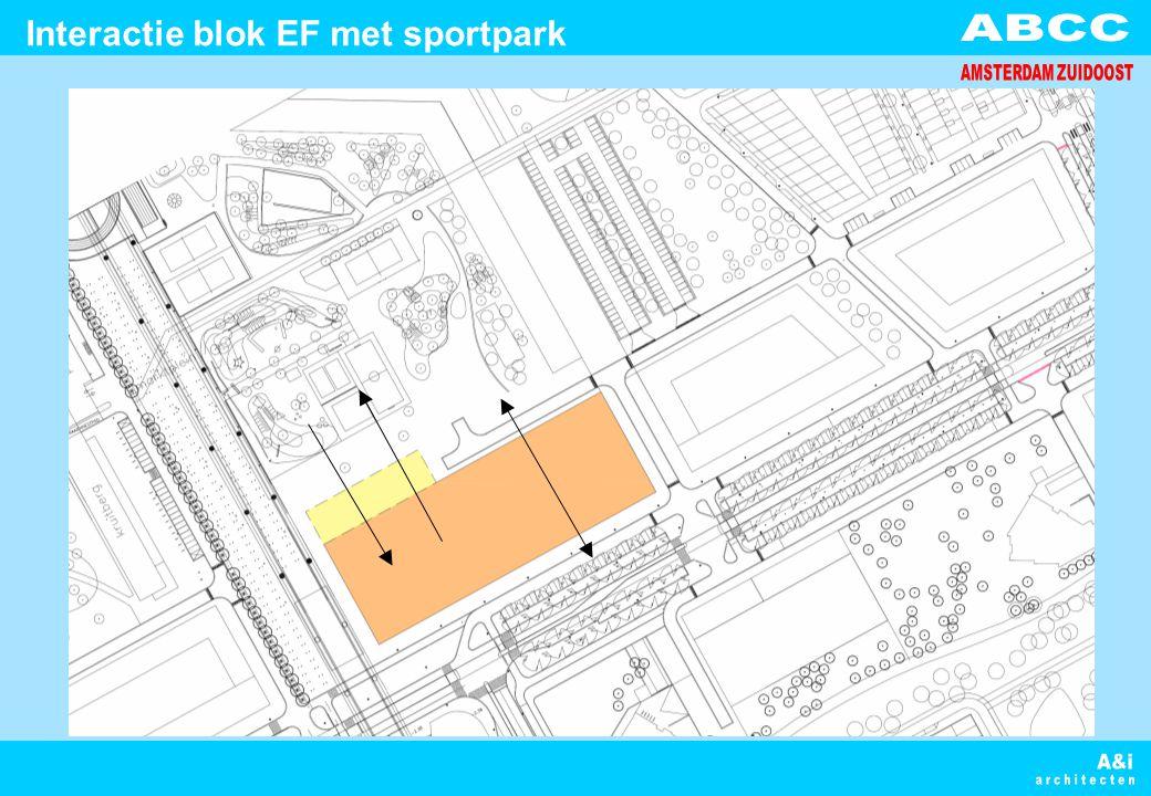 Interactie blok EF met sportpark
