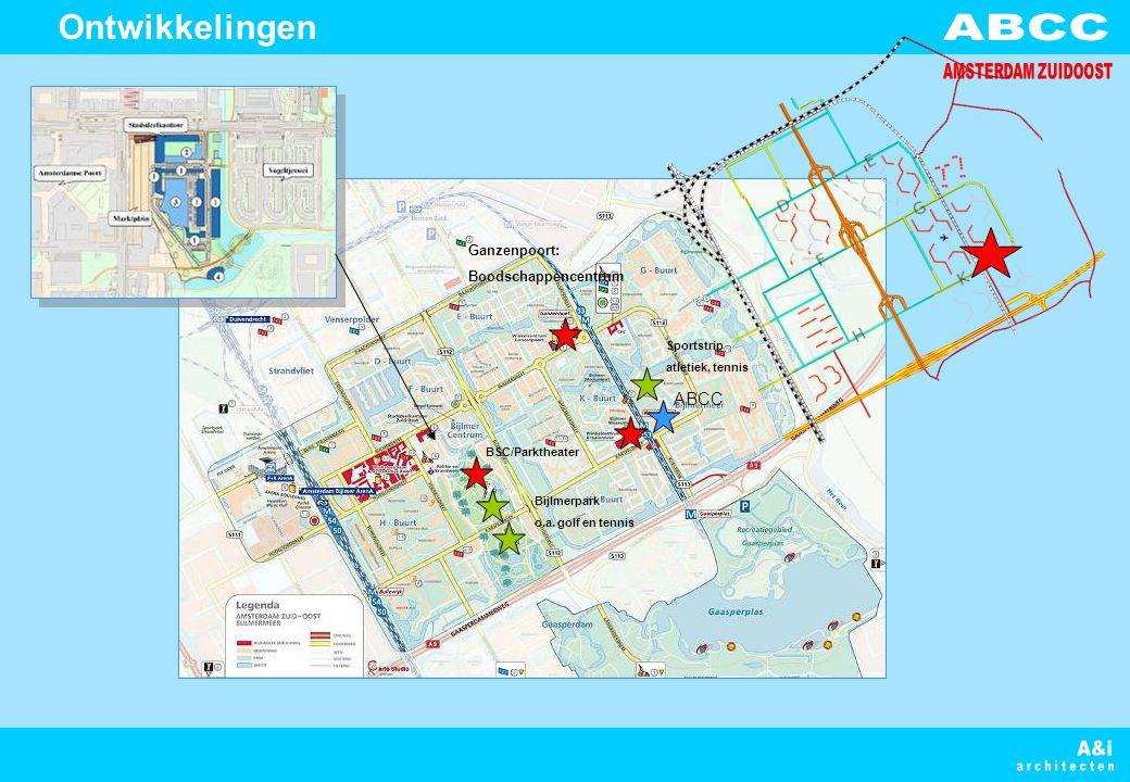 Sportstrip atletiek, tennis Bijlmerpark o.a. golf en tennis BSC/Parktheater Ganzenpoort: Boodschappencentrum ABCC Ontwikkelingen