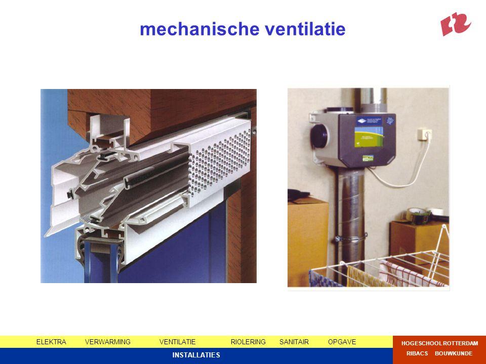 ELEKTRAVERWARMING VENTILATIERIOLERINGSANITAIROPGAVE HOGESCHOOL ROTTERDAM RIBACS BOUWKUNDE INSTALLATIES mechanische ventilatie