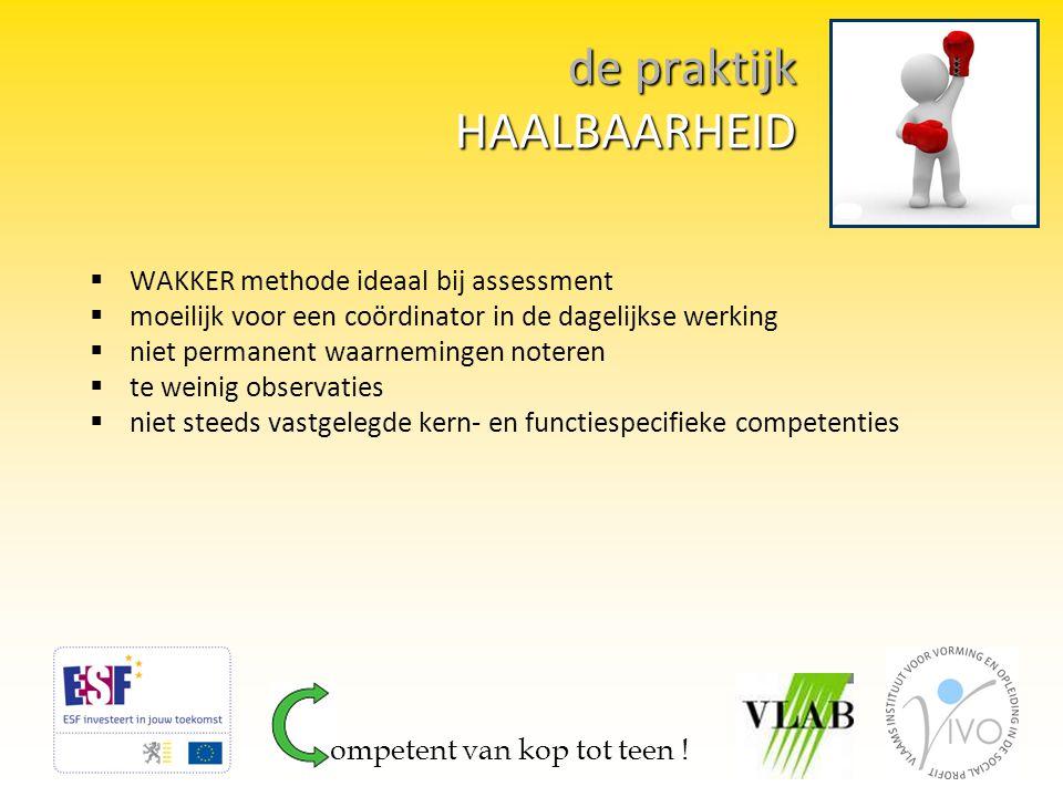 de praktijk HAALBAARHEID  WAKKER methode ideaal bij assessment  moeilijk voor een coördinator in de dagelijkse werking  niet permanent waarnemingen