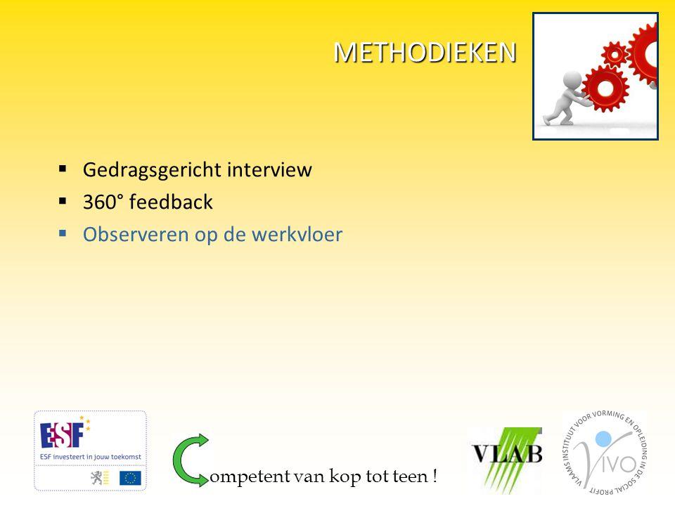 METHODIEKEN  Gedragsgericht interview  360° feedback  Observeren op de werkvloer ompetent van kop tot teen !