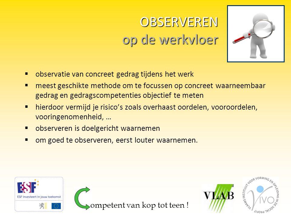 oplossing OBSERVATIEFICHE  observeren, doelgericht waarnemen, vanuit de competenties uit het competentieprofiel.