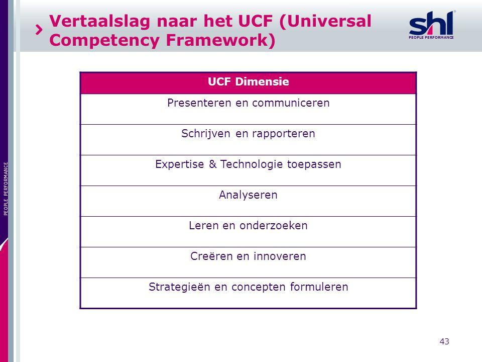 43 PEOPLE PERFORMANCE Vertaalslag naar het UCF (Universal Competency Framework) UCF Dimensie Presenteren en communiceren Schrijven en rapporteren Expe