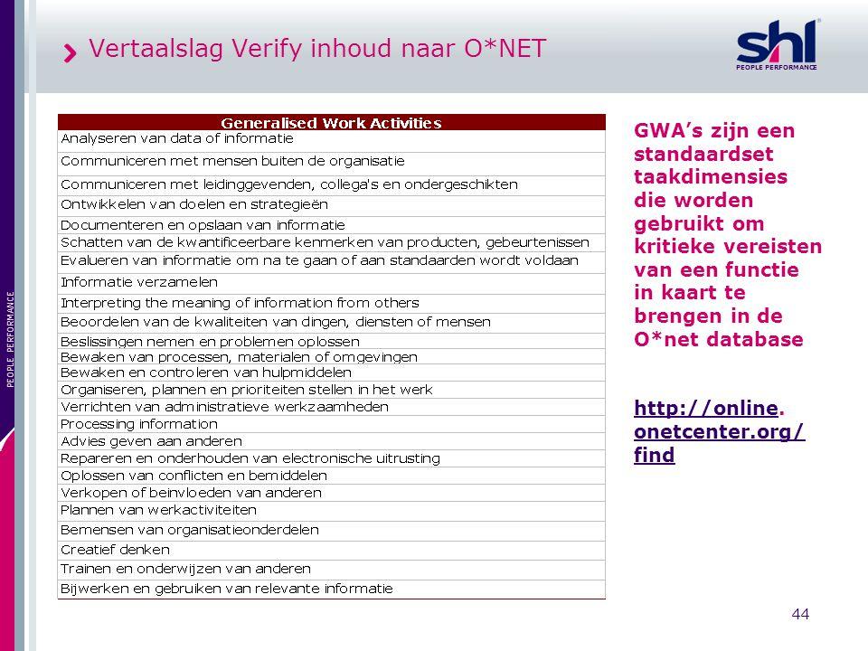PEOPLE PERFORMANCE 44 PEOPLE PERFORMANCE Vertaalslag Verify inhoud naar O*NET GWA's zijn een standaardset taakdimensies die worden gebruikt om kritiek