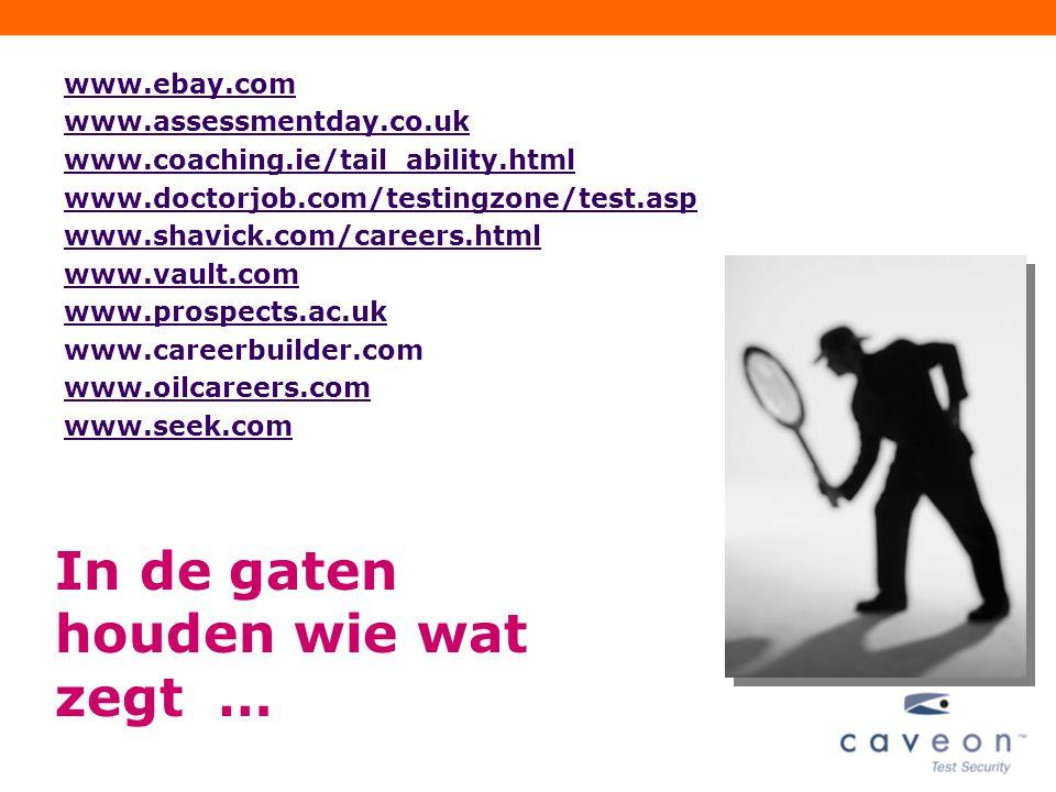 PEOPLE PERFORMANCE 53 PEOPLE PERFORMANCE www.ebay.com www.assessmentday.co.uk www.coaching.ie/tail_ability.html www.doctorjob.com/testingzone/test.asp www.shavick.com/careers.html www.vault.com www.prospects.ac.uk www.careerbuilder.com www.oilcareers.com www.seek.com In de gaten houden wie wat zegt …