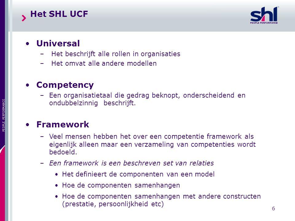 PEOPLE PERFORMANCE 6 Het SHL UCF Universal – Het beschrijft alle rollen in organisaties – Het omvat alle andere modellen Competency –Een organisatieta