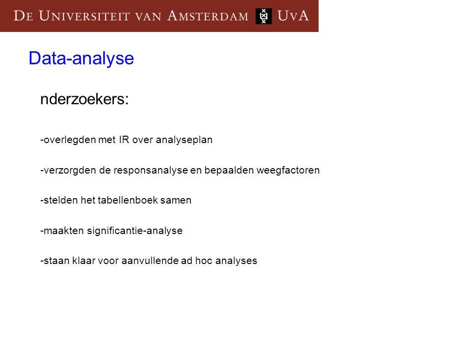 Data-analyse nderzoekers: -overlegden met IR over analyseplan -verzorgden de responsanalyse en bepaalden weegfactoren -stelden het tabellenboek samen -maakten significantie-analyse -staan klaar voor aanvullende ad hoc analyses