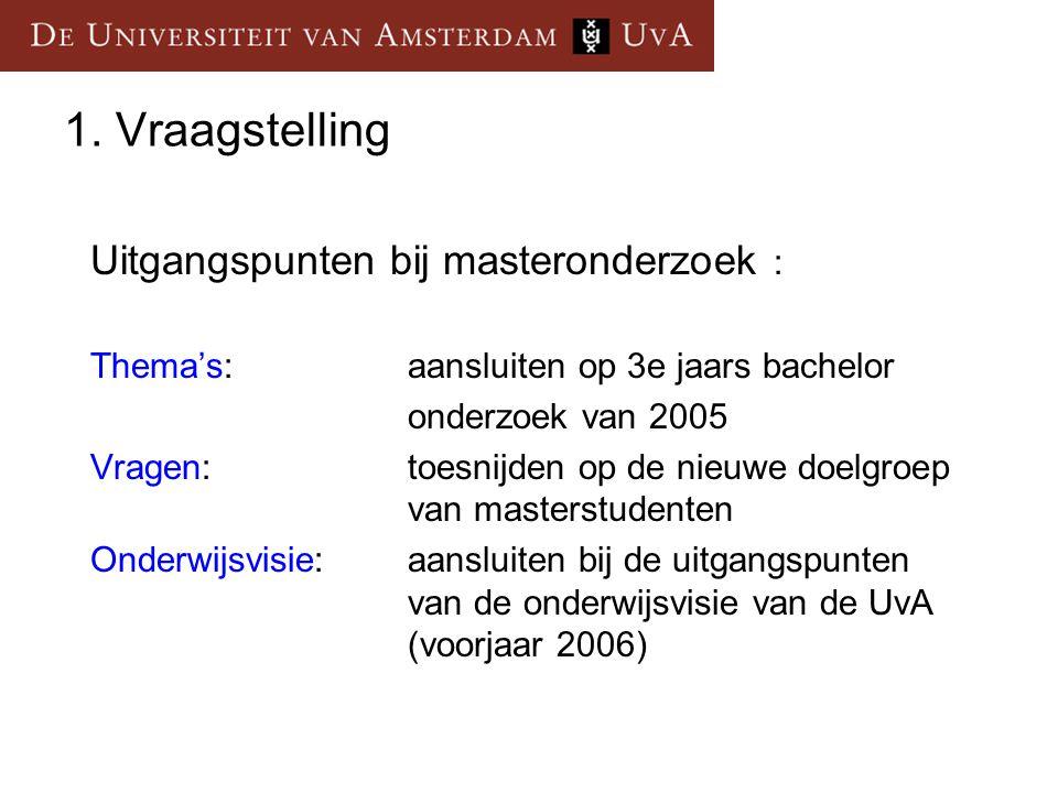 1. Vraagstelling Uitgangspunten bij masteronderzoek : Thema's: aansluiten op 3e jaars bachelor onderzoek van 2005 Vragen:toesnijden op de nieuwe doelg