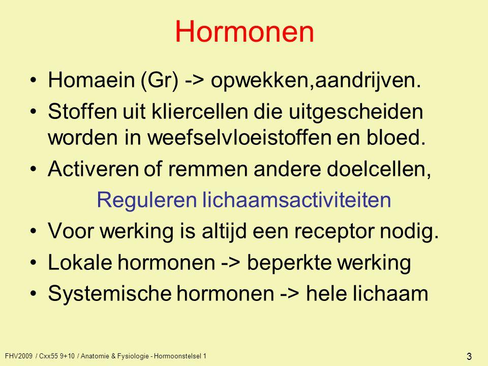 3 Hormonen Homaein (Gr) -> opwekken,aandrijven. Stoffen uit kliercellen die uitgescheiden worden in weefselvloeistoffen en bloed. Activeren of remmen