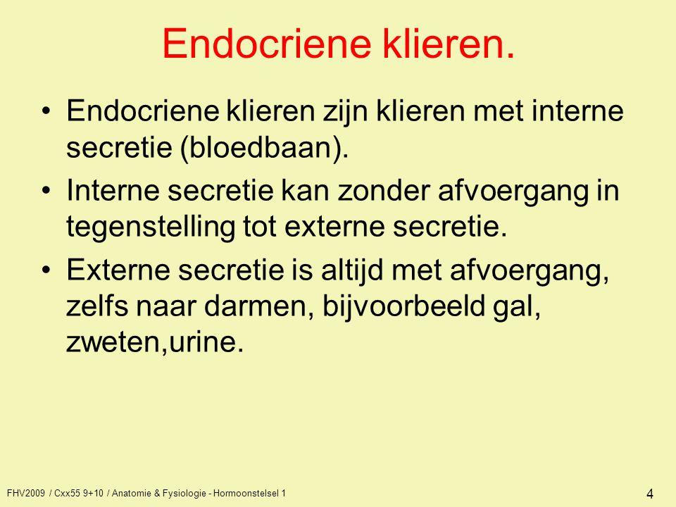 FHV2009 / Cxx55 9+10 / Anatomie & Fysiologie - Hormoonstelsel 1 4 Endocriene klieren. Endocriene klieren zijn klieren met interne secretie (bloedbaan)