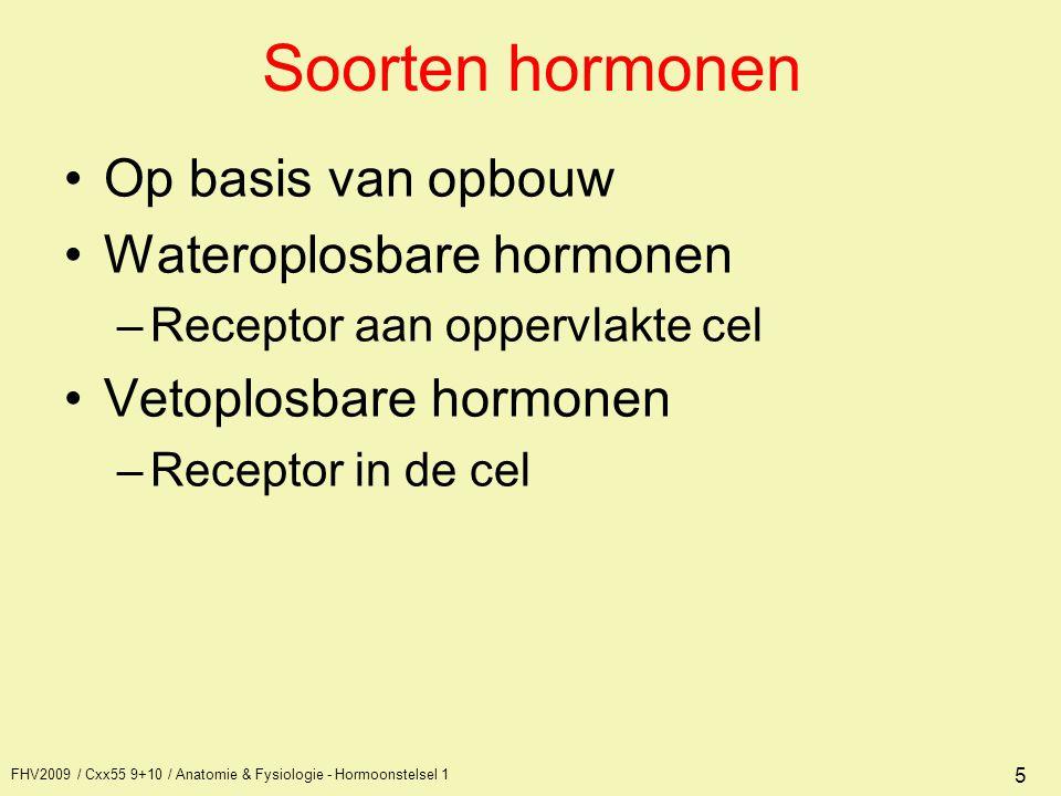FHV2009 / Cxx55 9+10 / Anatomie & Fysiologie - Hormoonstelsel 1 26 Neurohypofyse Bestaat uit zenuwuitlopers Cellichamen bevinden zich in de hypothalamus Hormoonproductie vindt plaats in de cellichamen en door de uitlopers getransporteerd naar de hypofyse Aan het einde van de uitlopers opgeslagen in blaasjes Zenuwprikkel van hypothalamus -> afscheiding naar bloed middels exocytose.