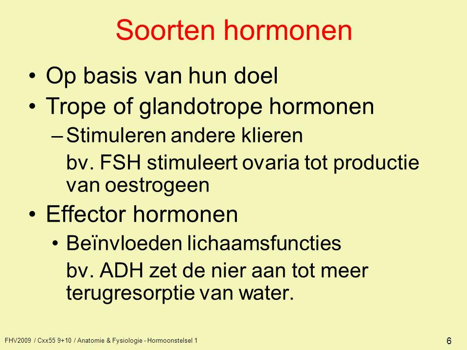 FHV2009 / Cxx55 9+10 / Anatomie & Fysiologie - Hormoonstelsel 1 6 Soorten hormonen Op basis van hun doel Trope of glandotrope hormonen –Stimuleren and