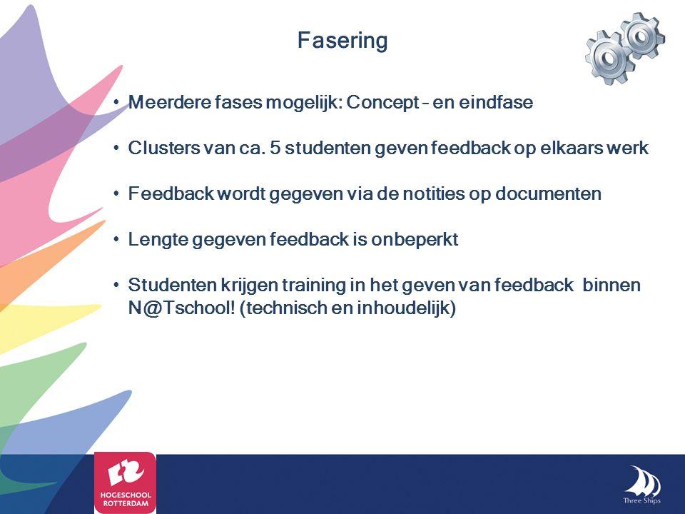 Meerdere fases mogelijk: Concept – en eindfase Clusters van ca. 5 studenten geven feedback op elkaars werk Feedback wordt gegeven via de notities op d