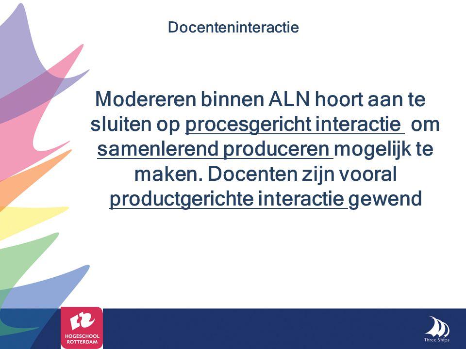 Modereren binnen ALN hoort aan te sluiten op procesgericht interactie om samenlerend produceren mogelijk te maken. Docenten zijn vooral productgericht
