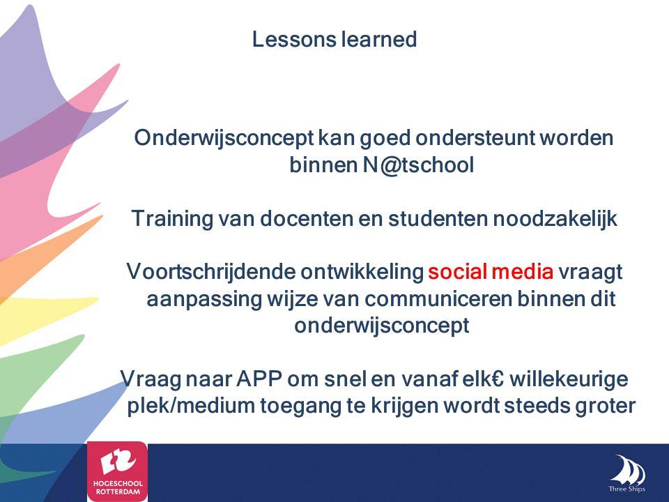 Onderwijsconcept kan goed ondersteunt worden binnen N@tschool Training van docenten en studenten noodzakelijk Voortschrijdende ontwikkeling social med