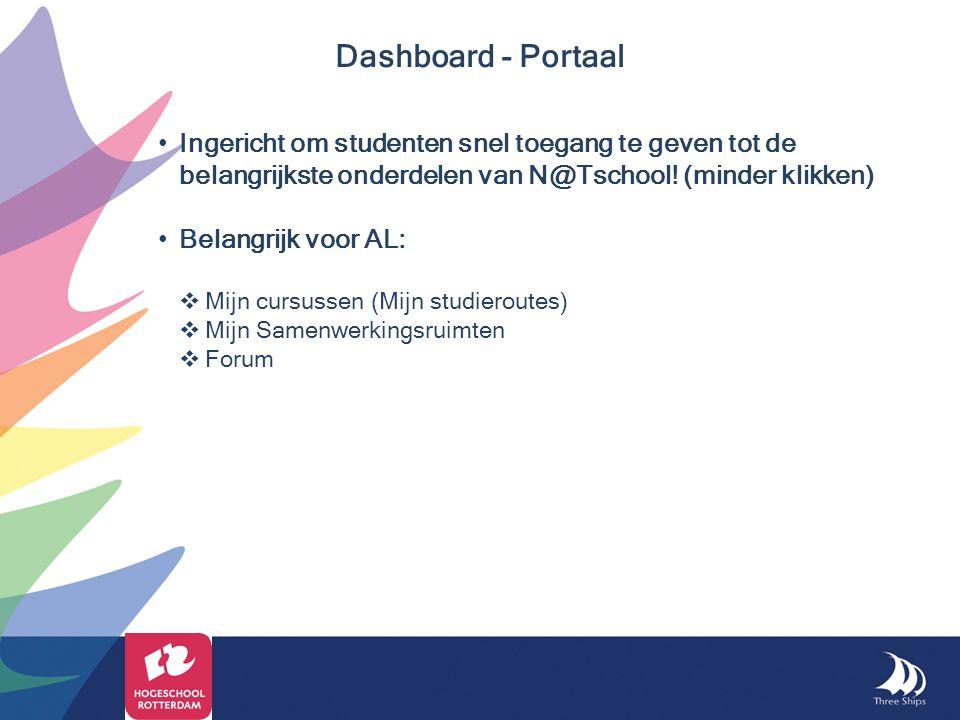 Ingericht om studenten snel toegang te geven tot de belangrijkste onderdelen van N@Tschool! (minder klikken) Belangrijk voor AL:  Mijn cursussen (Mij