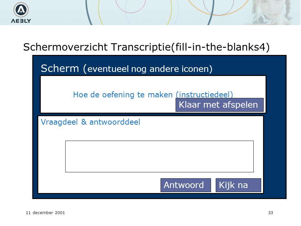 11 december 200133 Schermoverzicht Transcriptie(fill-in-the-blanks4) Hoe de oefening te maken (instructiedeel) Scherm ( eventueel nog andere iconen) Vraagdeel & antwoorddeel Klaar met afspelen Kijk naAntwoord