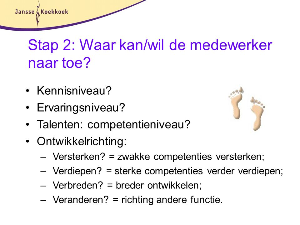 Stap 2: Waar kan/wil de medewerker naar toe? Kennisniveau? Ervaringsniveau? Talenten: competentieniveau? Ontwikkelrichting: – Versterken? = zwakke com