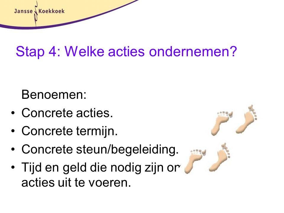 Stap 4: Welke acties ondernemen? Benoemen: Concrete acties. Concrete termijn. Concrete steun/begeleiding. Tijd en geld die nodig zijn om acties uit te