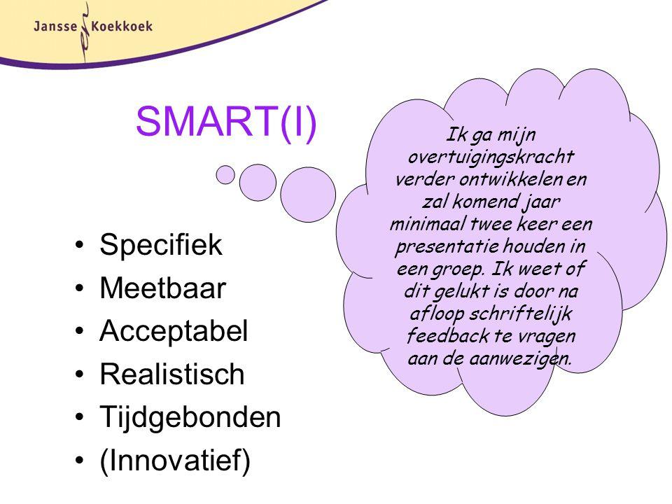 SMART(I) Specifiek Meetbaar Acceptabel Realistisch Tijdgebonden (Innovatief) Ik ga mijn overtuigingskracht verder ontwikkelen en zal komend jaar minim
