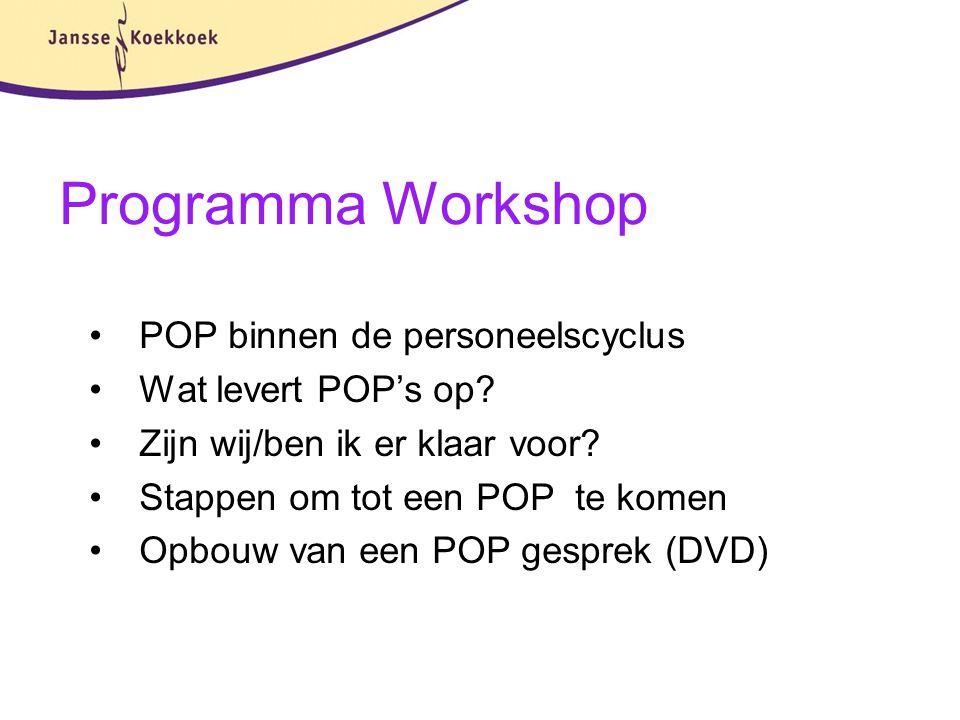 Programma Workshop POP binnen de personeelscyclus Wat levert POP's op? Zijn wij/ben ik er klaar voor? Stappen om tot een POP te komen Opbouw van een P