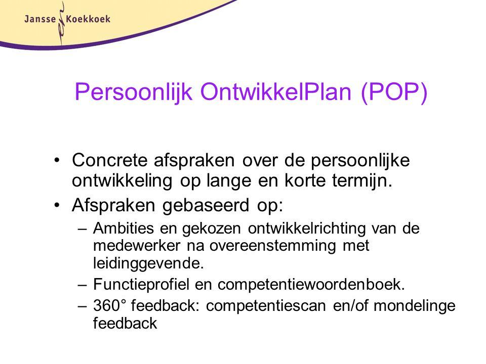 Persoonlijk OntwikkelPlan (POP) Concrete afspraken over de persoonlijke ontwikkeling op lange en korte termijn. Afspraken gebaseerd op: –Ambities en g