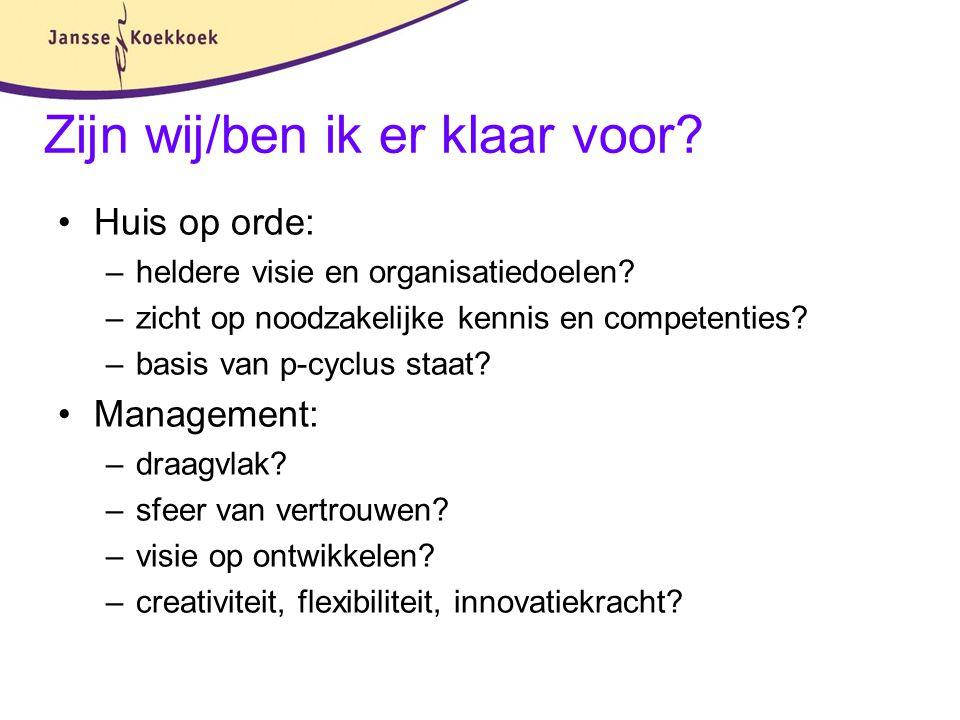 Zijn wij/ben ik er klaar voor? Huis op orde: –heldere visie en organisatiedoelen? –zicht op noodzakelijke kennis en competenties? –basis van p-cyclus
