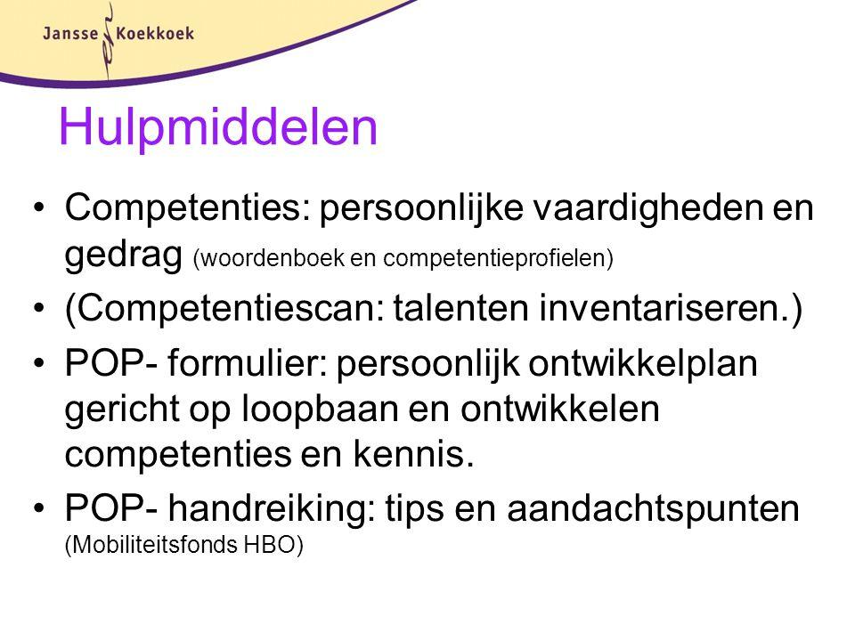 Hulpmiddelen Competenties: persoonlijke vaardigheden en gedrag (woordenboek en competentieprofielen) (Competentiescan: talenten inventariseren.) POP-