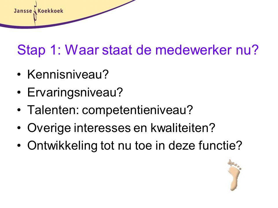 Stap 1: Waar staat de medewerker nu? Kennisniveau? Ervaringsniveau? Talenten: competentieniveau? Overige interesses en kwaliteiten? Ontwikkeling tot n