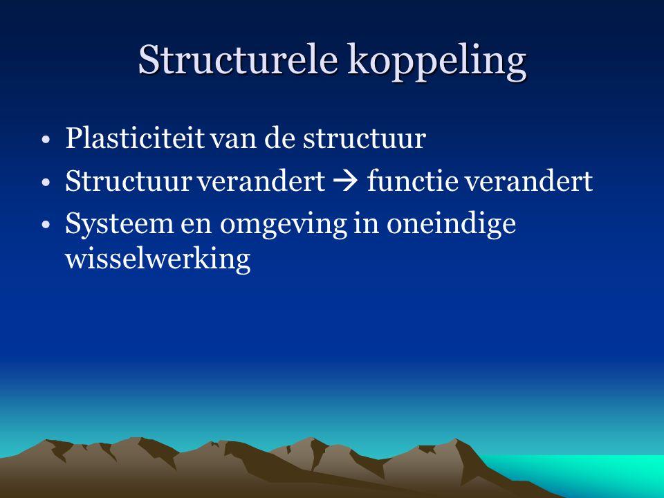 Structurele koppeling Plasticiteit van de structuur Structuur verandert  functie verandert Systeem en omgeving in oneindige wisselwerking