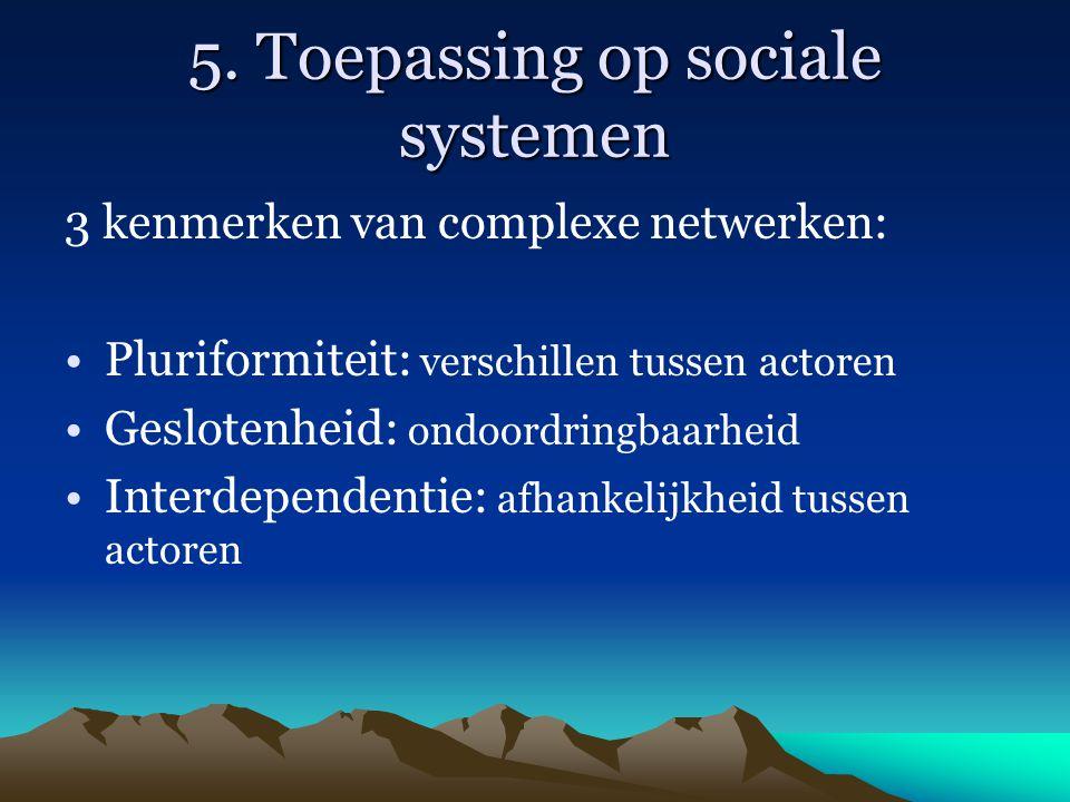 5. Toepassing op sociale systemen 3 kenmerken van complexe netwerken: Pluriformiteit: verschillen tussen actoren Geslotenheid: ondoordringbaarheid Int