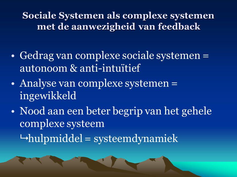 Sociale Systemen als complexe systemen met de aanwezigheid van feedback Gedrag van complexe sociale systemen = autonoom & anti-intuïtief Analyse van c