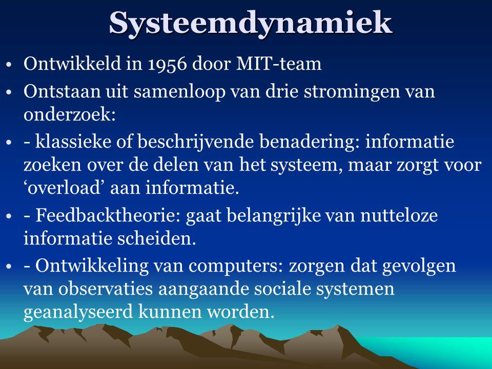 Systeemdynamiek Ontwikkeld in 1956 door MIT-team Ontstaan uit samenloop van drie stromingen van onderzoek: - klassieke of beschrijvende benadering: in