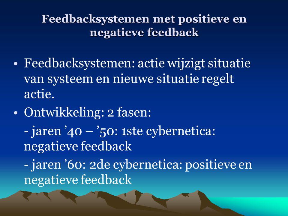 Feedbacksystemen met positieve en negatieve feedback Feedbacksystemen: actie wijzigt situatie van systeem en nieuwe situatie regelt actie. Ontwikkelin