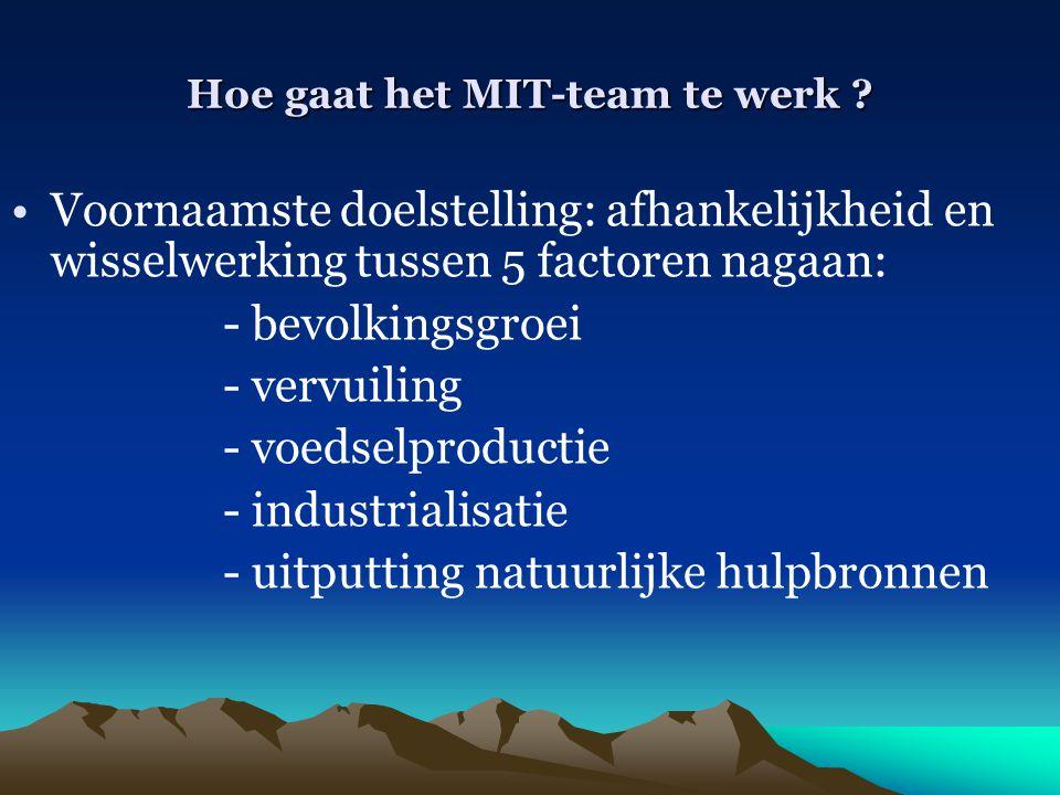 Hoe gaat het MIT-team te werk ? Voornaamste doelstelling: afhankelijkheid en wisselwerking tussen 5 factoren nagaan: - bevolkingsgroei - vervuiling -