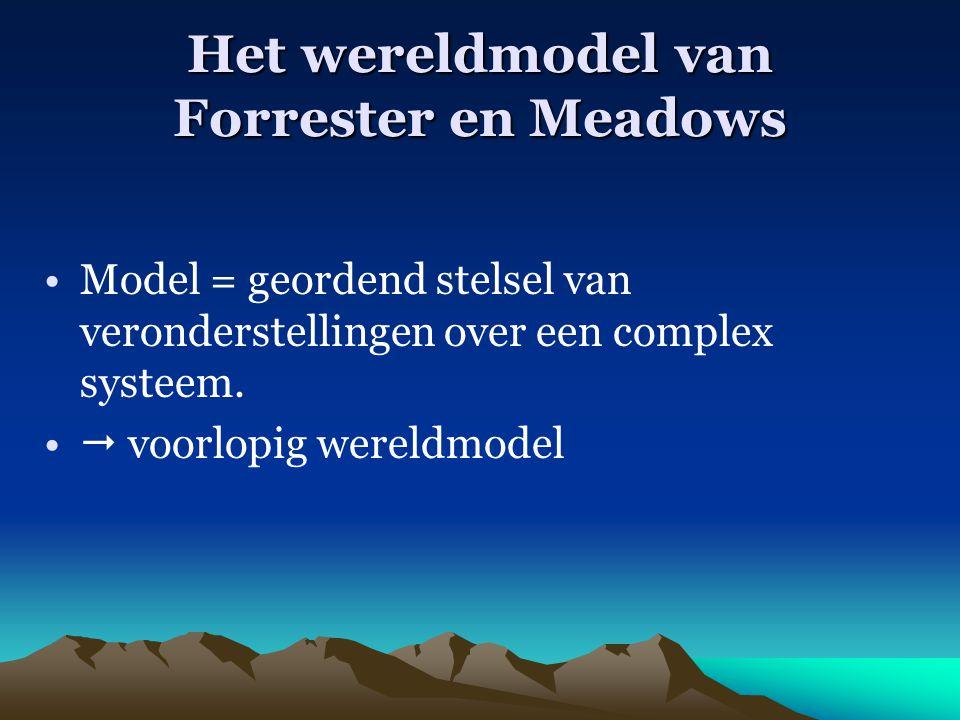 Het wereldmodel van Forrester en Meadows Model = geordend stelsel van veronderstellingen over een complex systeem.  voorlopig wereldmodel