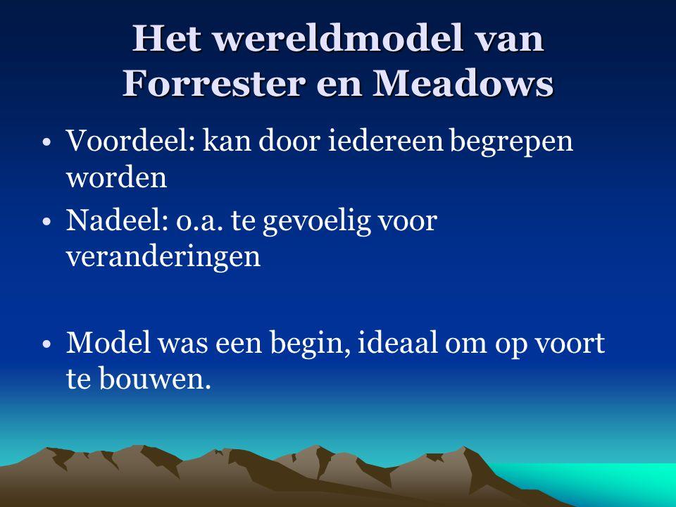 Het wereldmodel van Forrester en Meadows Voordeel: kan door iedereen begrepen worden Nadeel: o.a. te gevoelig voor veranderingen Model was een begin,