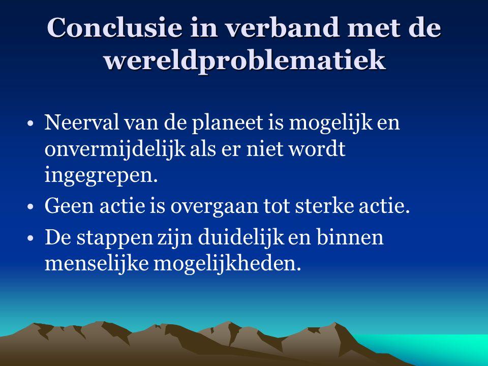 Conclusie in verband met de wereldproblematiek Neerval van de planeet is mogelijk en onvermijdelijk als er niet wordt ingegrepen. Geen actie is overga