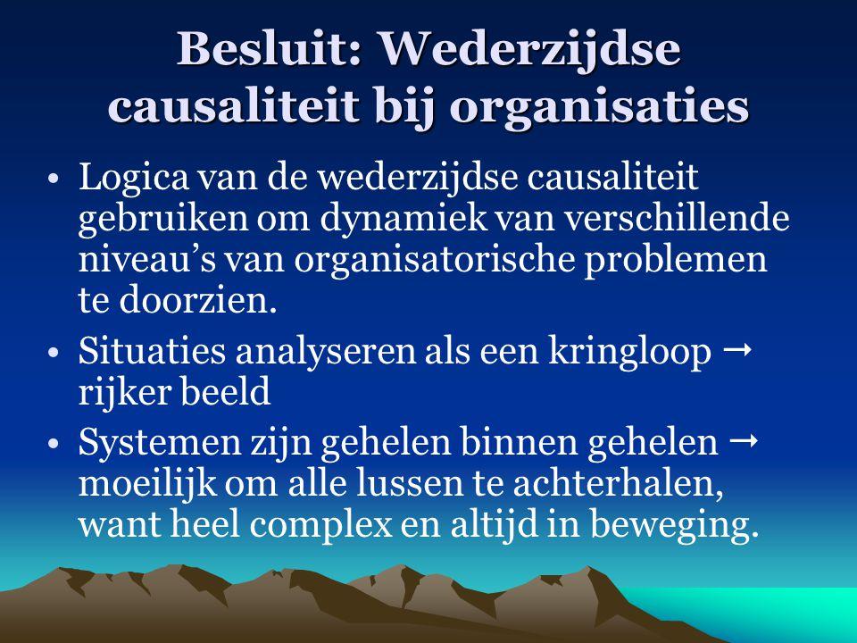 Besluit: Wederzijdse causaliteit bij organisaties Logica van de wederzijdse causaliteit gebruiken om dynamiek van verschillende niveau's van organisat