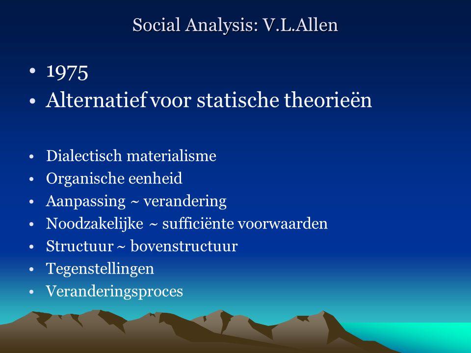 Social Analysis: V.L.Allen 1975 Alternatief voor statische theorieën Dialectisch materialisme Organische eenheid Aanpassing ~ verandering Noodzakelijk