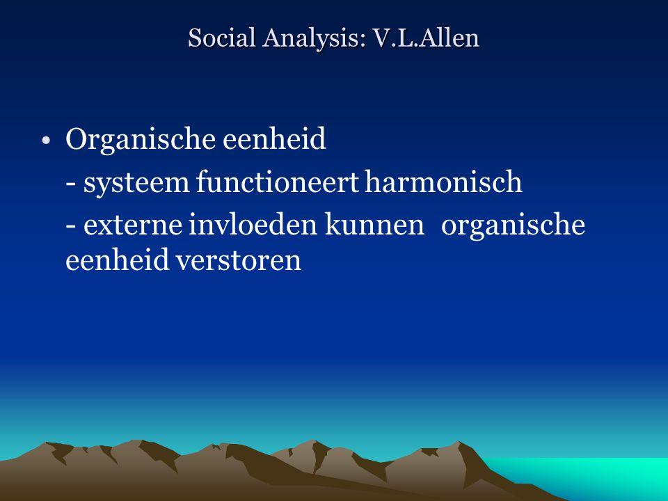 Social Analysis: V.L.Allen Organische eenheid - systeem functioneert harmonisch - externe invloeden kunnen organische eenheid verstoren