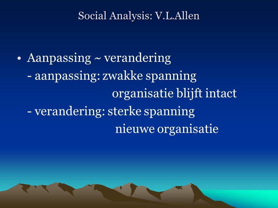 Social Analysis: V.L.Allen Aanpassing ~ verandering - aanpassing: zwakke spanning organisatie blijft intact - verandering: sterke spanning nieuwe orga