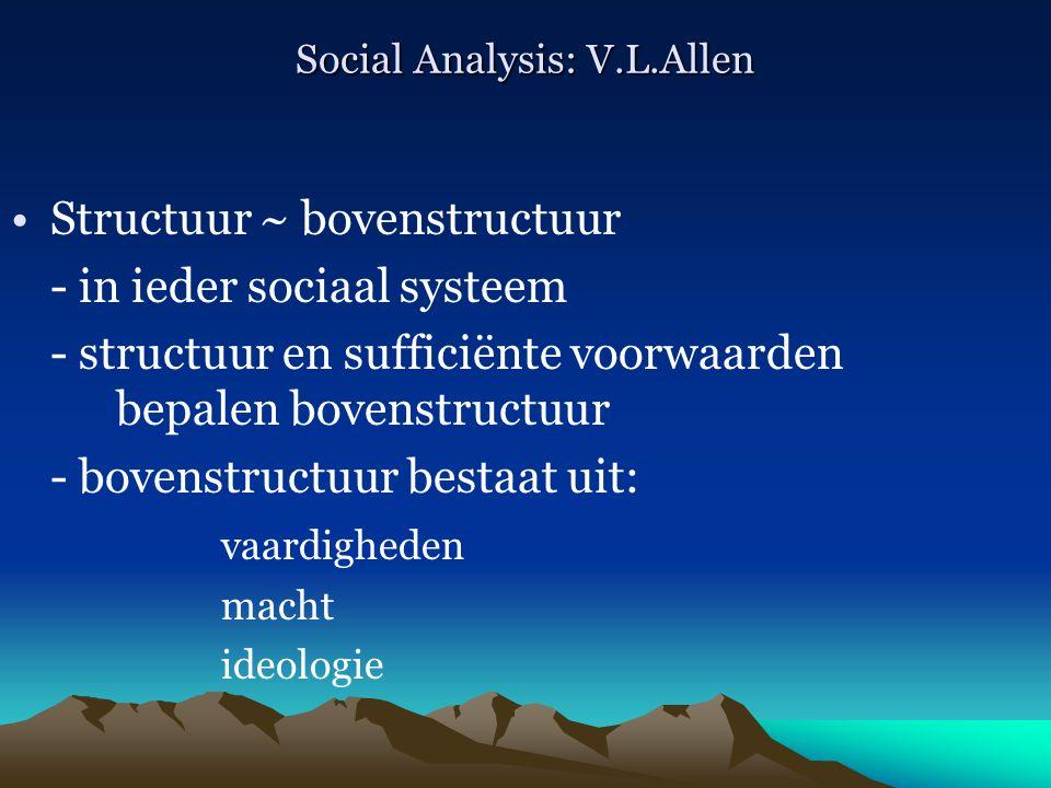 Social Analysis: V.L.Allen Structuur ~ bovenstructuur - in ieder sociaal systeem - structuur en sufficiënte voorwaarden bepalen bovenstructuur - boven