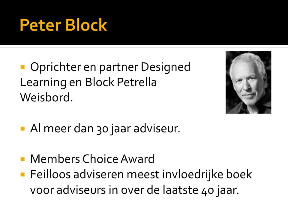  Oprichter en partner Designed Learning en Block Petrella Weisbord.