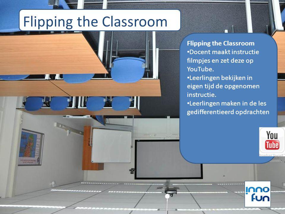 Flipping the Classroom Docent maakt instructie filmpjes en zet deze op YouTube. Leerlingen bekijken in eigen tijd de opgenomen instructie. Leerlingen