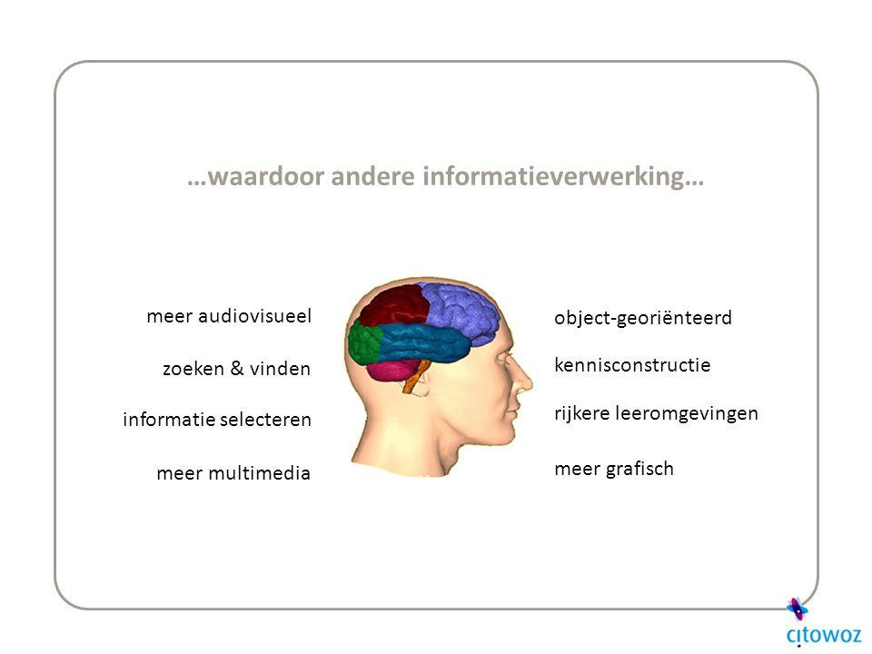 …waardoor andere informatieverwerking… meer audiovisueel zoeken & vinden meer multimedia informatie selecteren object-georiënteerd meer grafisch rijkere leeromgevingen kennisconstructie