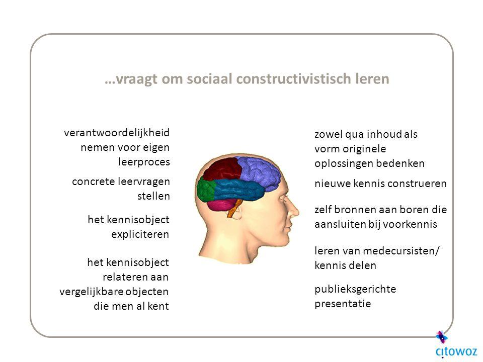 …vraagt om sociaal constructivistisch leren verantwoordelijkheid nemen voor eigen leerproces concrete leervragen stellen het kennisobject expliciteren