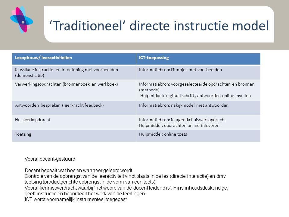 'Traditioneel' directe instructie model Lesopbouw/ leeractiviteitenICT-toepassing Klassikale instructie en in-oefening met voorbeelden (demonstratie) Informatiebron: Filmpjes met voorbeelden Verwerkingsopdrachten (bronnenboek en werkboek)Informatiebron: voorgeselecteerde opdrachten en bronnen (methode) Hulpmiddel: 'digitaal schrift', antwoorden online invullen Antwoorden bespreken (leerkracht feedback)Informatiebron: nakijkmodel met antwoorden HuiswerkopdrachtInformatiebron: in agenda huiswerkopdracht Hulpmiddel: opdrachten online inleveren ToetsingHulpmiddel: online toets Vooral docent-gestuurd Docent bepaalt wat hoe en wanneer geleerd wordt.